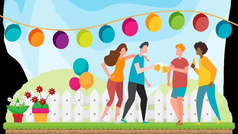 addobbi per feste in giardino - con palloncini