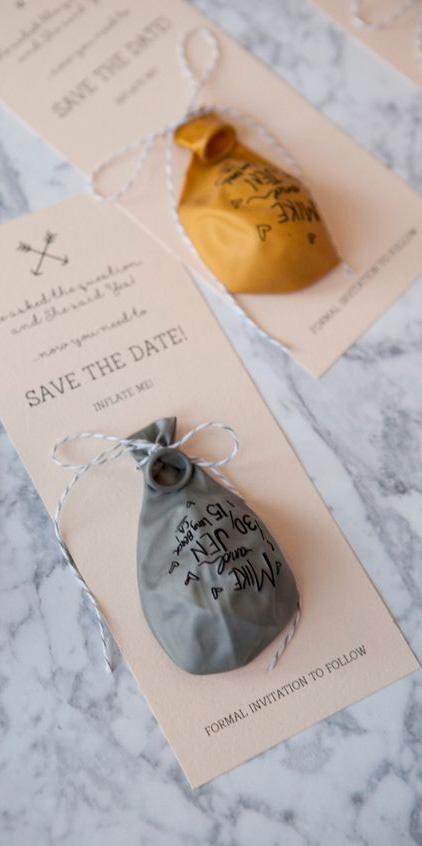 Partecipazioni di nozze con palloncino - stile elegante - 1