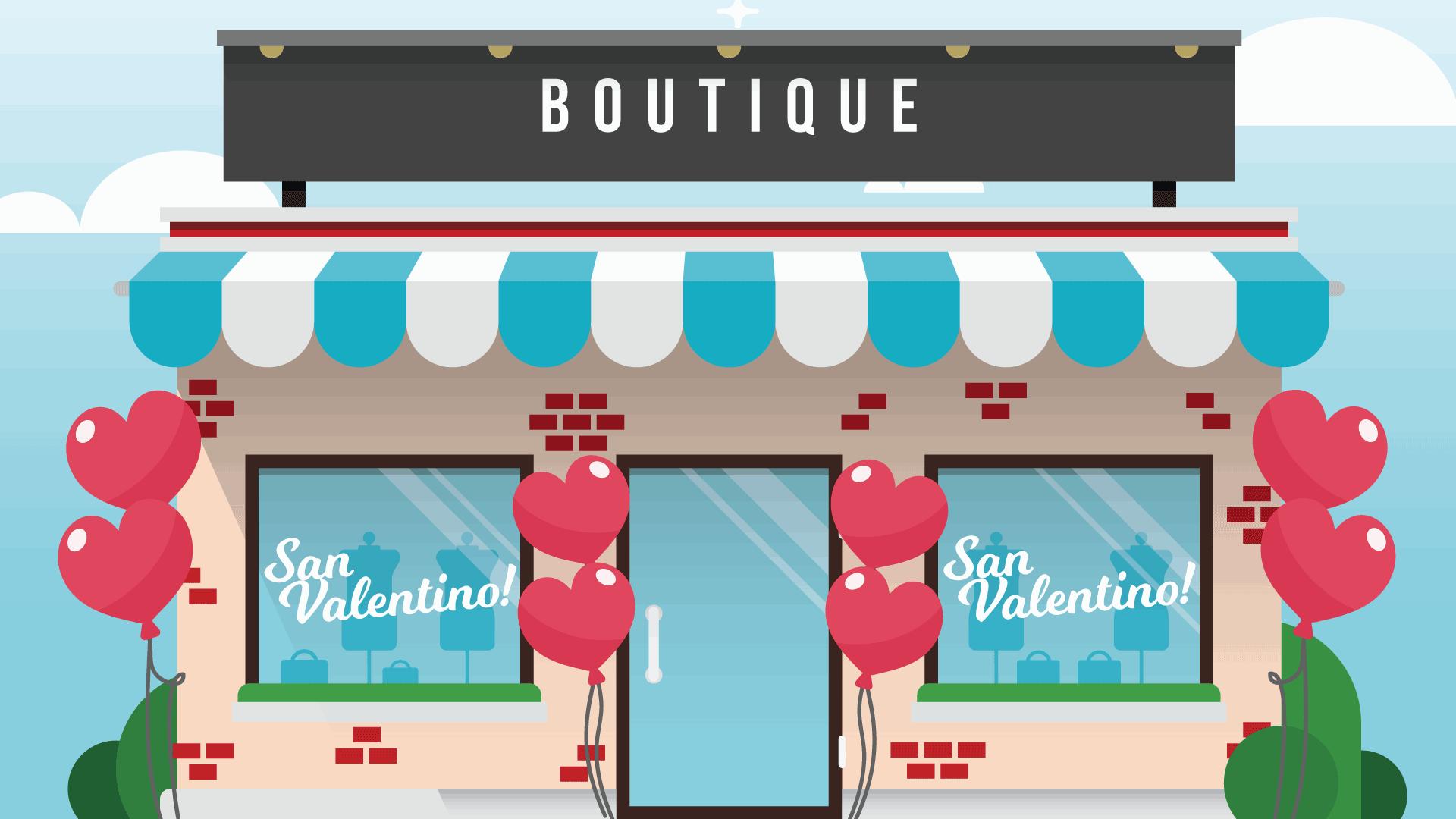 Allestire negozio per San Valentino