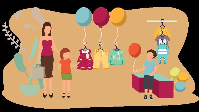 Vetrine e interni di negozi di abbigliamento bambini: allestire con i palloncini
